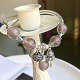 Fengshui Natural curación Pulsera de Cristal 7a Afortunado Gato Encanto Balance Brazalete Gris ágata Vacaciones joyería Amuleto atrae Dinero Prosperidad Suerte