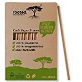 Rooted. - Pajitas de papel premium con certificación FSC, sin sabor y extra duraderas, 100% biodegradables, pajitas desechables (200)