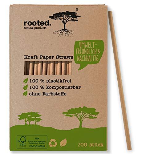 Rooted.®, cannucce di carta premium certificate FSC, insapore e extra resistenti, 100% biodegradabili, cannucce monouso (200)