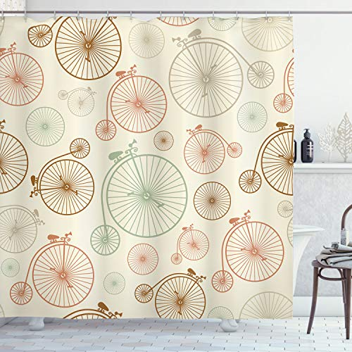 Ambesonne Vintage Shower Curtain, Vintage Bicycles with Antique Wheels Indie Backdrop Classical Design Illustration, Cloth Fabric Bathroom Decor Set with Hooks, 70' Long, Brown Cream