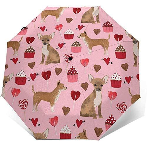 Valentines Cute Cupcakes Chihuahua Reiseregenschirm Sonnenschirm-Lightweight Windproof Sunscreen Umbrella-Auto Öffnen und Schließen Button