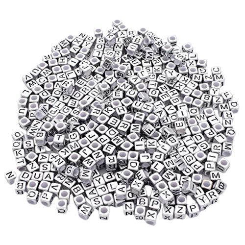 Monllack - Mezclador de letra con perlas de alfabeto cuadradas y cuentas acrílicas para fabricación de joyas DIY para pulsera, collar, accesorios (plata)