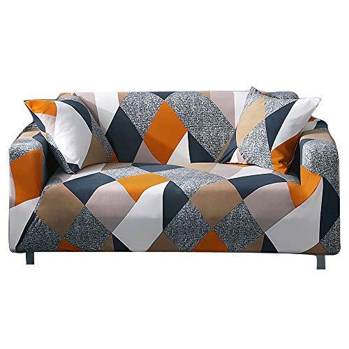 ARNTY Sofabezüge, Moderne Elastischer Sofabezug Stretch 1/2/3/4 Sitzer Couchbezug Antirutsch Blumendruck Sofahusse für Couch Möbelschutz (Bunt-Quadrat, 3 Sitzer Sofabezug:181-230cm)