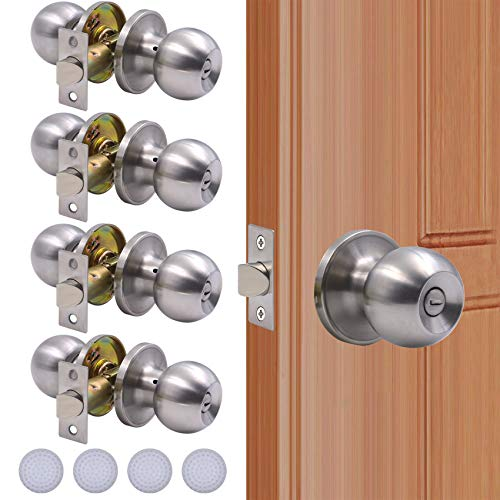 KONIGEEHRE 4 Pack Privacy Door Knobs Stain Nickel Interior Passage Door Lock Keyless Round Dummy Lockset for Bedroom Bathroom, Hardwares & Instruction Included (4, Satin Nickel)