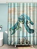 Green-S Sea Turtle Shower Curtain for Bathroom Farmhouse Beach Theme Cute Ocean Animal Teal Nautical Coastal Fabric Cloth Summer Curtain Set with Hooks Waterproof Washable Polyester 72×72 Inch