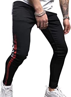 Men's Denim Jeans with Stripes Casual Slim Fit Ripped Stretch Jogger Jeans