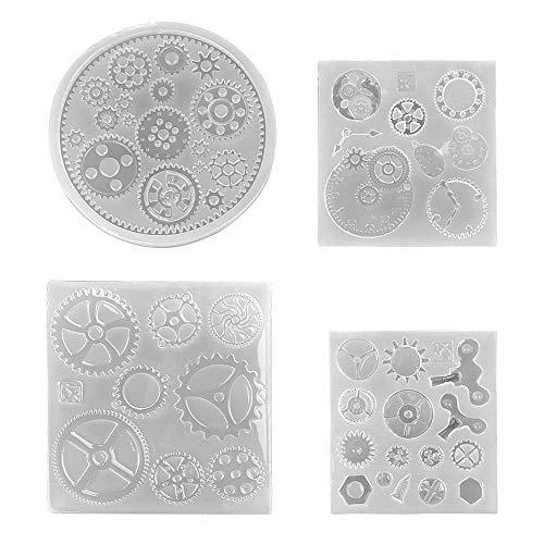 4pcs Molde de Silicona Molde Moldes de resina de silicona para manualidades Reloj Ruedas Pasaje de Silicona Engranaje Molde Arte 3D de Molde DIY Resina Para Decoración de Arcilla Polimérica