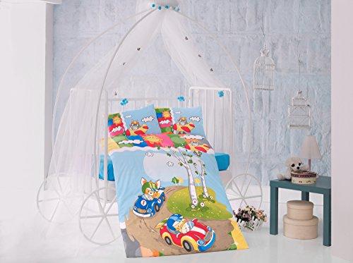 temps de course Bleu Cars Lit pour bébé Housse de couette, 100% coton doux et Sain Parure de lit 4 pièces