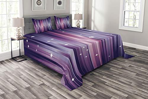 ABAKUHAUS Morado Cubrecama, Fondo Abstracto Colorido con Estrellas Blancas Líneas Púrpura Inspiración Espacial, Resistente a la Suciedad, 264 x 220 cm, Multicolor