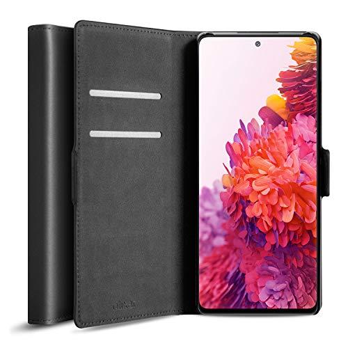 Olixar Funda tipo cartera para Samsung Galaxy S20 FE de piel auténtica, con tapa para guardar tarjetas de crédito, soporte integrado, carga inalámbrica, color negro