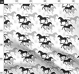 Schwarz Weiß, Pferd, Tiere, Cowboy, Wilder Westen Stoffe -