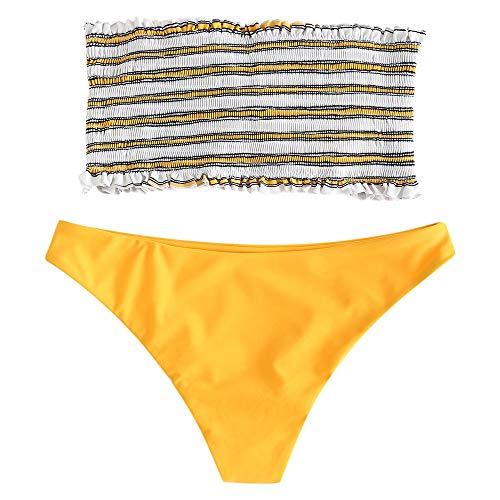 ZAFUL Frauen Zweiteiler trägerlos gestreift gekräuselten Bandeau Bikini Set (L, GELB)