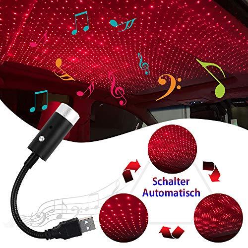 VDARK Autodach Sternenlichter USB LED Auto Innendekoration Licht LED Sternenhimmel Licht Sound Aktiviert Stern Projektor Licht Romantische Auto Atmosphäre Lampe Auto-Switching Lichtmuster (Rot)