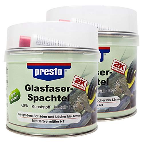 Presto 2X 601112 G Lasfaserspachtel Mit Härter G Rau-Grün 1000 G