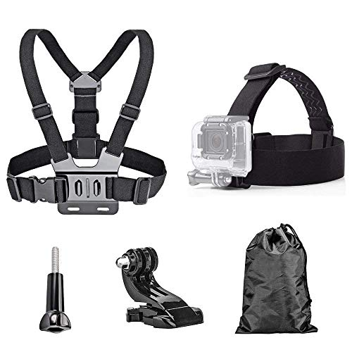 TEKCAM Action Camera Head Strap Chest Harness Belt Mount with Carrying Pouch Compatible with Gopro Hero 7 6 5/AKASO EK7000 Brave 4 V50/Crosstour 4k/Campark/DBPOWER/Dragon Touch Waterproof Camera