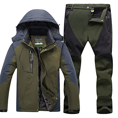Qitun Hombre de Trekking Impermeable Deportivos Transpirable Pantalones Chaqueta de Esquí Impermeable Chaqueta de Nieve Excursionismo Conjunto Verde del ejército G XXXL