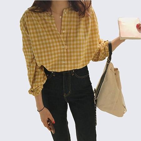 Sxgyubt - Blusa de manga larga para mujer beige amarillo free ...