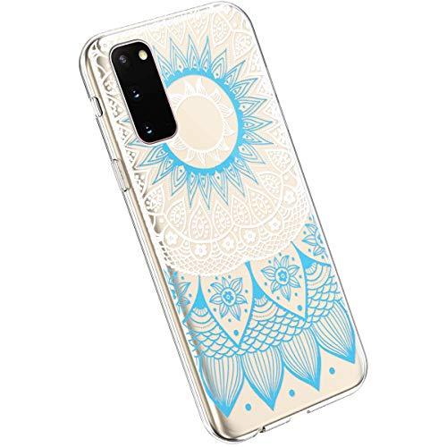 Ysimee Compatible avec Samsung Galaxy S20 Coque en Silicone Élégant et Mignon avec Conception Peinte TPU Ultra Resistant Souple Housse Flexible Antichoc Bumper Case Ultra Mince Léger Cover,Bleu