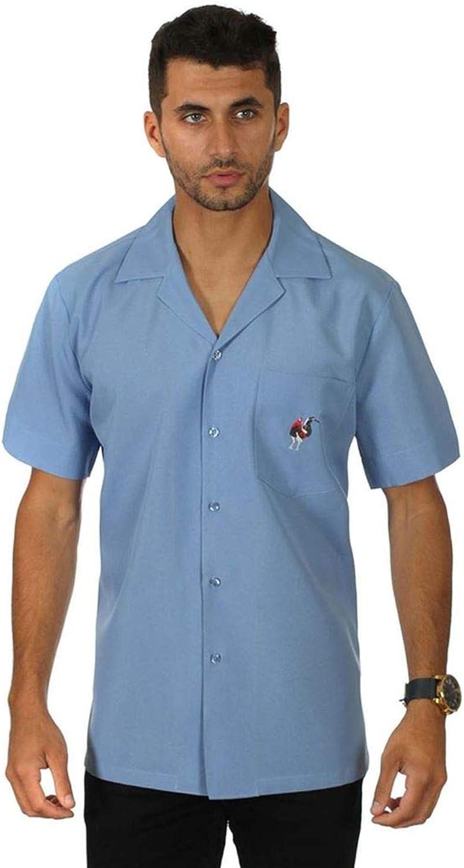 Men's Guayabera Solid Color Cuban Beach Wedding Short Sleeve Button Up Casual Dress Embroidered Shirt