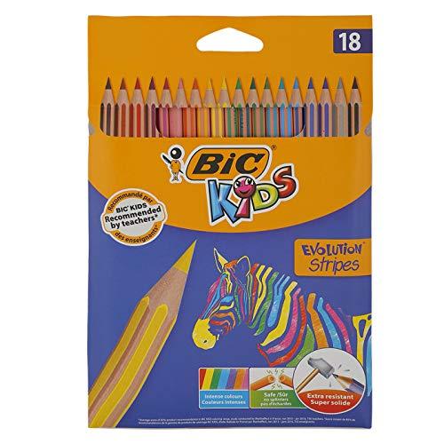 BIC Kids Evolution Stripes Lápices de colores - colores Surtidos, Blíster de 18 unidades, 950524