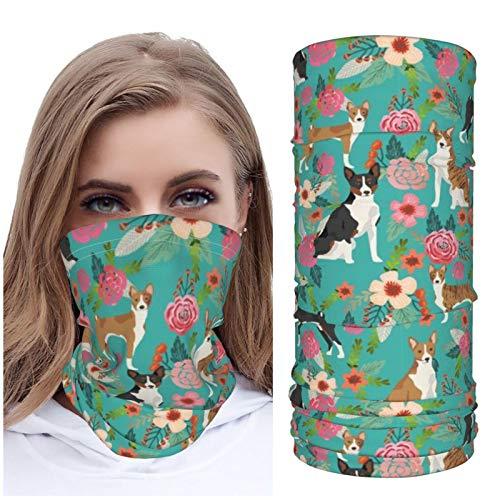 Jack16 Floral perro raza flores hielo seda cara M_ask cara cubierta cuello polaina headwear pañuelo pasamontañas transpirable para correr montar a caballo