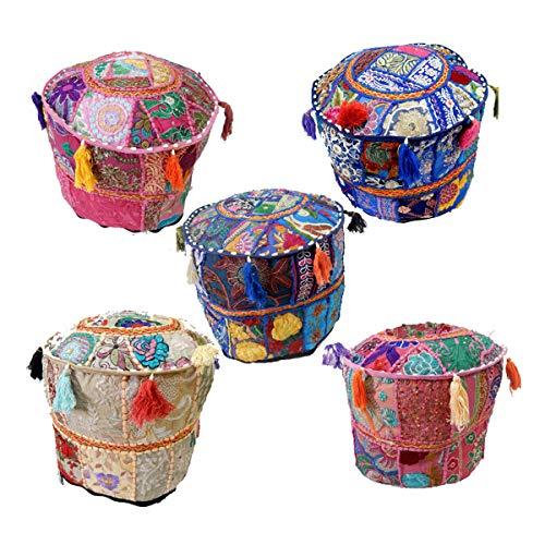 iinfinize – 5 Stück Lot Khambadiya Patchwork Pouf Bezug rund Vintage Pouffe Baumwolle Überwurf Dekorative Bodenkissen Hippie Boho Sitzhocker Sitzsack marokkanischer Pouf Pouffe Reißverschluss