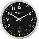 Ambient Weather RC-1200BSN 12' Atomic Radio Controlled Wall Clock, Black/Silver