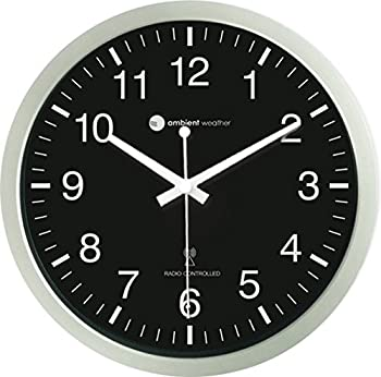 Ambient Weather RC-1200BSN 12  Atomic Radio Controlled Wall Clock Black/Silver