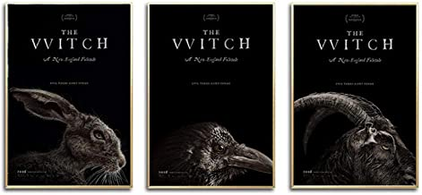 Movies Poster The Vvitch Canvas Poster Rabbit Eagle Goat Print Painting Cloth Fabric Wall Art Pictures for Living Room Decor 35cm x50cm x3p No Frame
