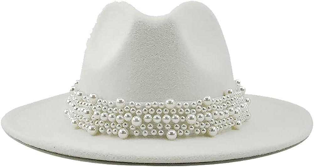 Womens Winter Spring Vintage Pearl Felt Fedora Hat, Wide Brim Fashion Panama Cap for Women