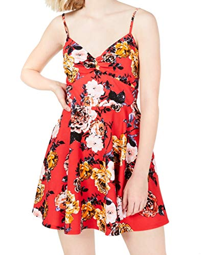Trixxi Womens Juniors Floral Lace Party Dress Red 3