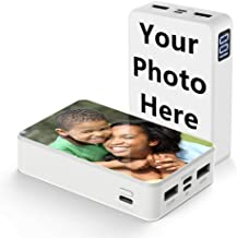 Shumei Customized Photo Portable Charger Power Bank 10000 mAh LCD Display Volume 2.4A High-Speed Charging Ultra Light and Small Compatible with iPhone x and More (White)