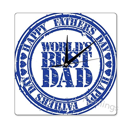 Mesllings Scale-Free Wall Clocks World's Best Dad Square Wall Clock, Wall Decor Clocks for Kitchen, Office, Retro Hanging Clock, Home Decor Accessories