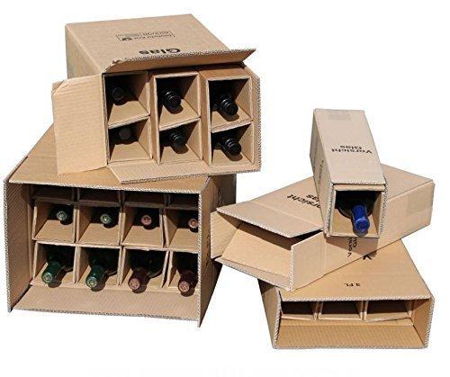 10x 1er Flaschen Versandkarton für Weinflaschen UPS DHL geprüft Weinversandkarton Wein Flaschen Versand Verpackung 10 komplette Kartons