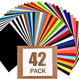 HTV Heat Transfer Vinyl Bundle : 42 Pack 12' x 10' Sheets Iron on Vinyl30 Assorted Colors Heat Transfer Vinyl for DIY Iron on Fabrics T-Shirts