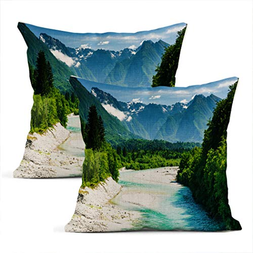 Meowjoy Set of 2 Cushion Covers Print Linen Alps Beautiful Canyon In Forest with Soca River Slovenia ABC Pillowcases Car Sofa Bedroom Home Decor Gifts for Family Friends 16x16 Inch