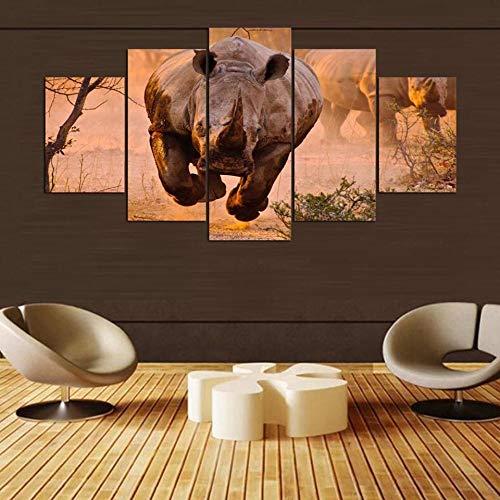 CCCCC Für Wohnzimmer Moderne Hd Gedruckt Bilder 5 Panel Rhinoceros Kopf Tier Wandkunst Wohnkultur Rahmen Leinwand Malerei Poster (KEINE Rahmen größe)