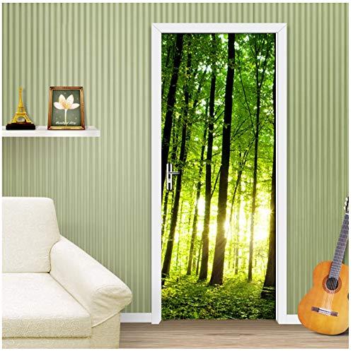 Green Forest Tree 3D Photo Mural Wallpaper Renovación de la Sala de Estar DIY Autoadhesivo Etiqueta de la Puerta PVC Vinilo Papel Tapiz de la Puerta Rollo