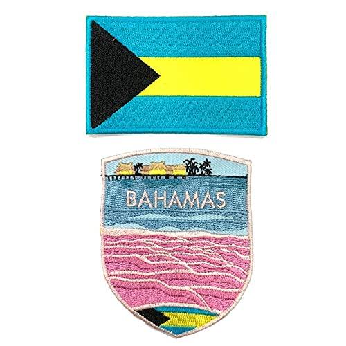 A-ONE 2 Stück – Harbour Island Beach Stickerei + The Bahamas Flagge Aufnäher, rosa Muschel Sand Küste Touristensouvenir bestickt für Taschen Kleidung Ärmel zum Aufnähen auf Nummer 290C
