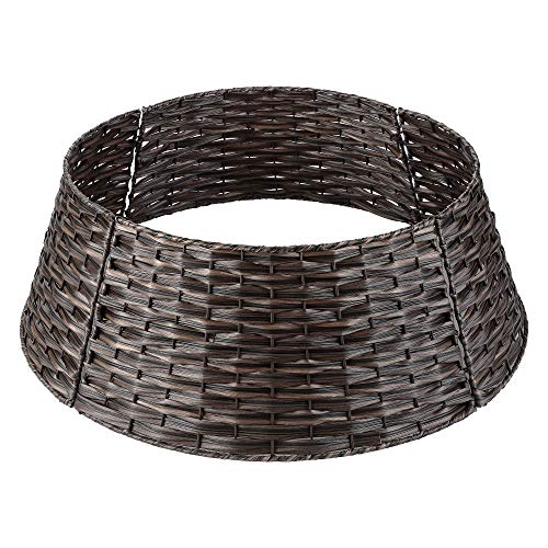 Christmas Tree Collar Basket, LordofXMAS Handwoven Plastic Ring for Artificial Christmas Trees Decoration, 20-Inch Chestnut Brown