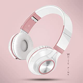 BUNGER Wireless Bluetooth Foldable Headphones Hi-Fi Stereo Headset With Mic SD/TF Card rose gold