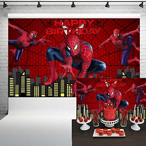 Spiderman Backdrop for Birthday Party Red Spiderweb City Night Super Hero Photo Background Cartoon Comics Movie Party Supplies Banner Cake Table Decorations Props 5x3 ft 75