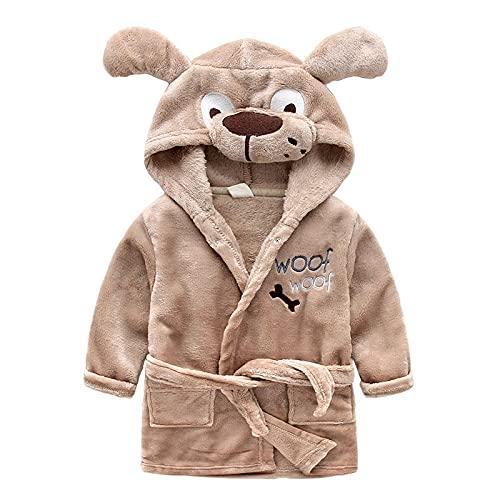 XKMY Toalla de baño con capucha para niños, lindos albornoces para niñas, pijamas, dinosaurios, toalla de playa con capucha, para niños, bata de baño para bebés (color: perro, tamaño de niño: 6)