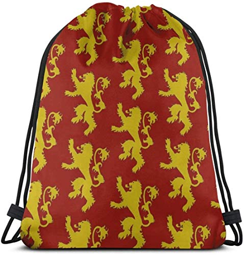 KINGAM Bolsas de regalo Lannister Crest Gym Bag para mujeres y hombres, mochila con cordón con bolsillos impermeable de nailon bolsa grande