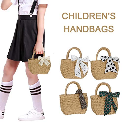 Somedays Stroh Gewebte Handtasche Für Kinder Mädchen, Japanische Und Südkoreanische Art-handgemachte Tasche Mit Schal-Dekoration Für Strandurlaub Und Täglichen Gebrauch