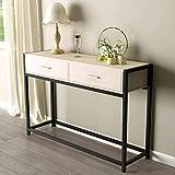 Sogesfurniture mesa de consola mesa entrada vintage, mesa auxiliar de madera y metal con 2 cajones para vestíbulo, pasillo, salón, dormitorio, montaje fácil, 120x34x81cm, gris bheu-dx-121