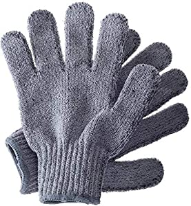 Exfoliating Wash Gloves, Bamboo Exfoliator Mitt, Bath/Shower Scrub, Body Exfoliation Hand Mitten, Beauty Scrubs/Loofah, Ingrown Hair/Dead Skin Remover, Scratching Eco Microfibre, Natural, Grey by Temple Spring