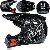 KAAM - Casco de motocross con visera y gafas (4 unidades), diseño floral, color negro