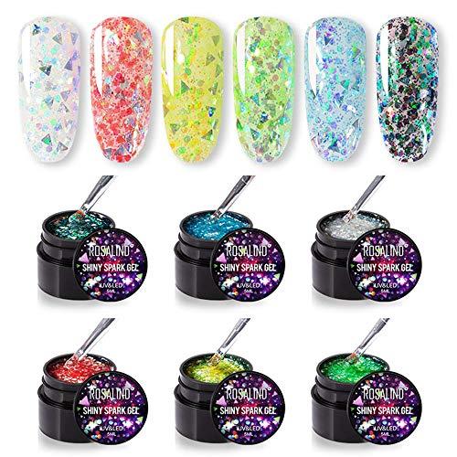 ROSALIND Smalti Semipermanenti Fluo Per Unghie Kit Gel Diamantato Corallo Lucido Luminoso Per Nail Art Neon Design LED/Lampada UV 5 ml * 6 pezzi