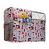 LFONCE Bolsa para máquina de coser, cubierta para el polvo para máquina de coser, cubierta protectora de tela resistente al agua con bolsillos y accesorios de costura bolsa de almacenamiento